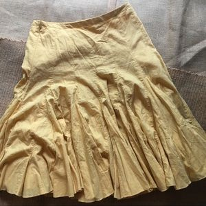 Anthropologie Odille Ruffle Yellow Skirt Sz 6
